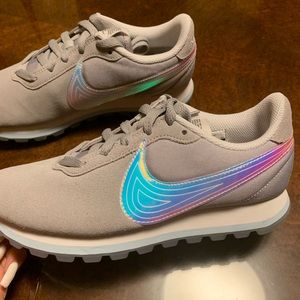 Grey Nikes with iridescent check